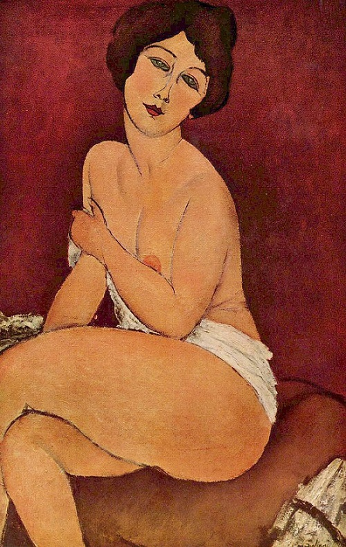 Nude Sitting on a Divan, 1917 by Amedeo Modigliani